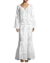 Vita Kin Long Sleeve Embroidered Tunic Maxi Dress White