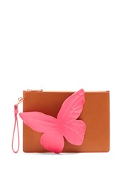 Sophia Webster Flossy Butterfly Leather Pouch Tan Multi