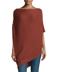 Max Studio Asymmetric Rib Knit Poncho H. Rust