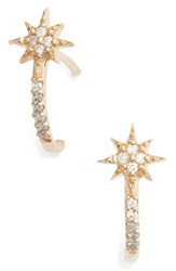 Anzie Diamond Star Half Hoop Huggie Earrings Gold