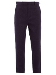 Raey Tapered Leg Boiled Wool Trousers Navy