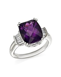 Bloomingdale's Amethyst And Diamond Statement Ring In 14K White Gold White Purple