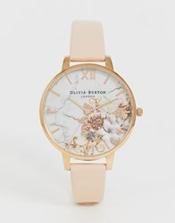 Olivia Burton Ob16cs12 Marble Floral Leather Watch Pink