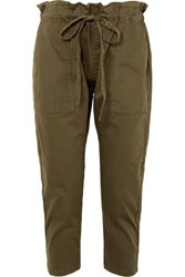 Current Elliott The Tabloid Cropped Cotton Blend Pants Dark Green