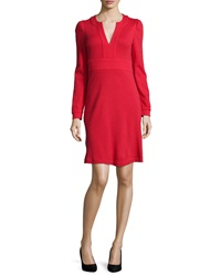 Diane Von Furstenberg Leyah Long Sleeve Wool Dress Poppy