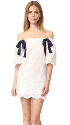 English Factory Off Shoulder Dress With Tie Detail White Navy