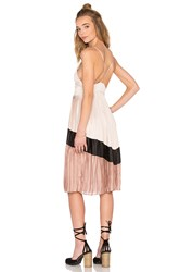 Lucca Couture Washed Satin Chevron Pleated Midi Dress Beige