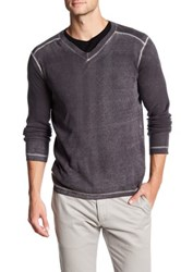 Autumn Cashmere Inked Thermal V Neck Shirt Gray