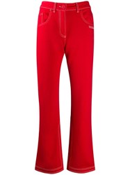 Off White Contrast Stitch Kick Flare Jeans Red