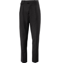 Christophe Lemaire Double Pleated Wool And Cotton Blend Trousers Black