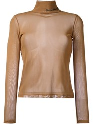 Each X Other Sheer Turtle Neck Jumper Brown