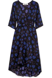 Diane Von Furstenberg Eloise Asymmetric Printed Silk Crepe De Chine Wrap Dress Black