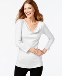 Inc International Concepts Draped Cowl Neck Top Only At Macy's Bright White