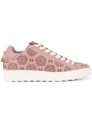 Coach C101 Cut Out Sneakers Pink And Purple