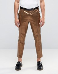 Asos Skinny Smart Trousers In Bright Bronze Brown