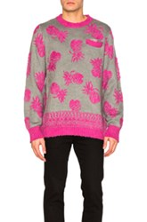 Sacai Pineapple Knit Pullover In Gray Abstract Pink Gray Abstract Pink
