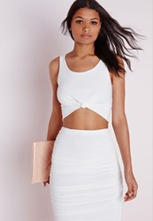 Missguided Sleeveless Knot Front Crop Top White