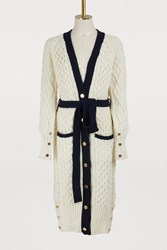 Thom Browne Wool And Mohair Maxi Cardigan White