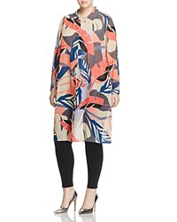 Vince Camuto Plus Modern Tropics Leaf Print Button Down Tunic Coral Passion