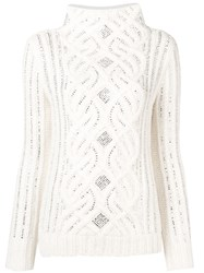 Ermanno Scervino Crystal Embellished Sweater White