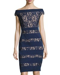 Jax Boat Neck Cap Sleeve Lace Panel Dress Navy