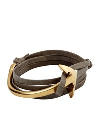 Miansai Gold Anchor Leather Bracelet Unisex Grey
