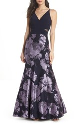 Xscape Evenings Brocade Mermaid Gown Navy Lilac