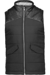 Monrow Faux Leather Trimmed Quilted Faille Vest Black