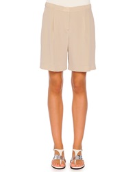 Piazza Sempione Pleated Relaxed Silk Shorts Taupe