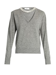 Toga Mesh Insert Wool Sweater Grey