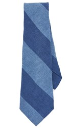 Thomas Mason Wide Stripe Tie Navy Blue