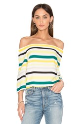 1.State Cold Shoulder Striped Top Yellow