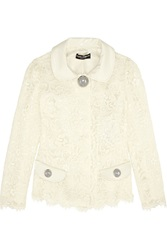 Dolce And Gabbana Patent Leather Trimmed Guipure Lace Jacket