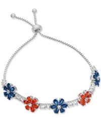 Joan Boyce Clear And Colored Crystal Flower Slider Bracelet White