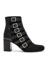 Saint Laurent Babies Suede Buckle Boots In Black