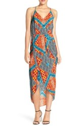 Amanda Uprichard Cricket Print Hi Lo Silk Maxi Dress Multi