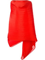 Pleats Please By Issey Miyake Pleated Scarf Red