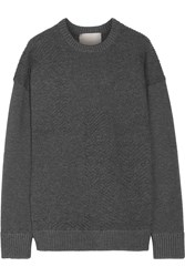 Jason Wu Oversized Textured Stretch Knit Sweater Gray