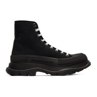 Alexander Mcqueen Black Canvas Lace Up Boots