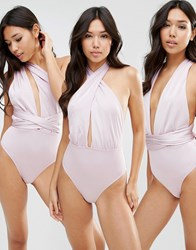 Asos Multiway Swimsuit Lilac Purple