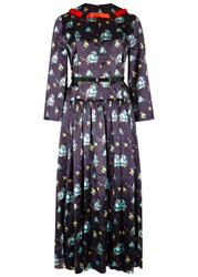 Toga Pulla Floral Print Satin Midi Dress Navy