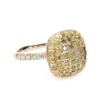 Roberto Marroni 18Kt Yellow Gold Ring With Yellow Ice And White Diamonds