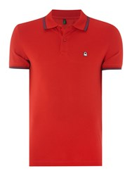 United Colors Of Benetton Short Sleeve Tipped Polo Red