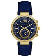Michael Kors Mk2425 Sawyer Gold Plated Stainless Steel Watch Blue