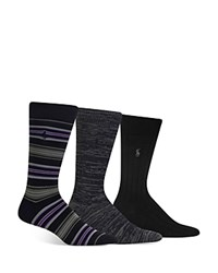 Polo Ralph Lauren Super Soft Striped Marled And Solid Socks Pack Of 3 Black