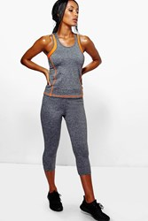 Boohoo Performance Contrast Band Capri Leggings Grey