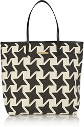 Stella Mccartney Faux Leather Trimmed Printed Cotton Canvas Tote Black