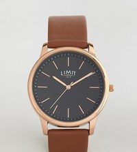 Limit Tan Leather Watch With Stripe Dial Exclusive To Asos Tan