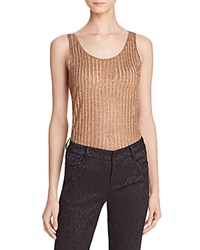 Alice Olivia Annmarie Metallic Ribbed Tank Gold