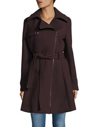 Catherine Malandrino Asymmetrical Fit And Flare Coat Oxblood Red